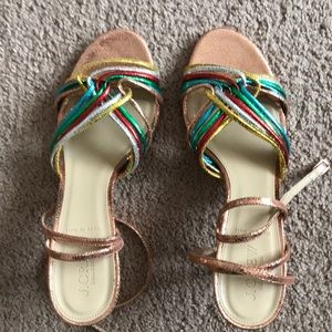 J Crew rainbow and rose gold heels